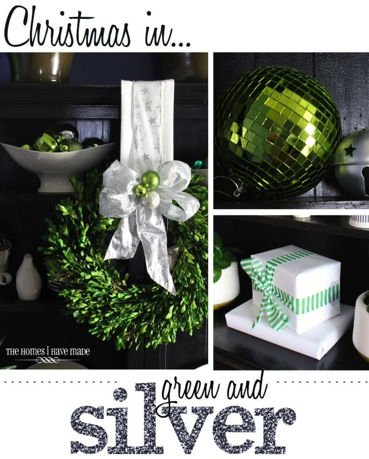 Green and Silver Holiday Dining Room