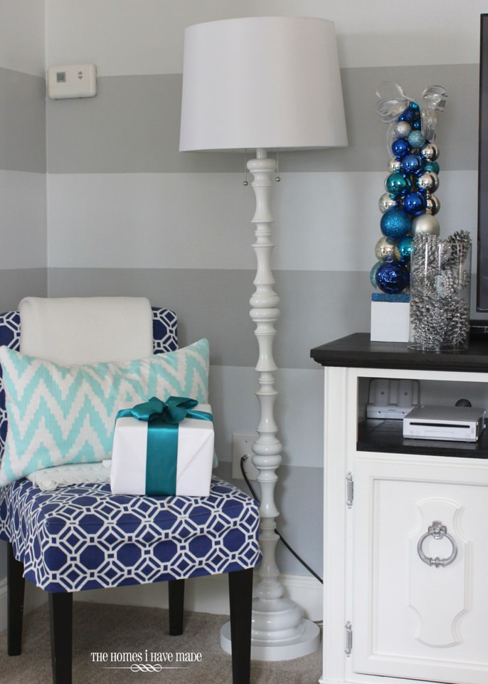 Turquoise and Blue Holiday Family Room