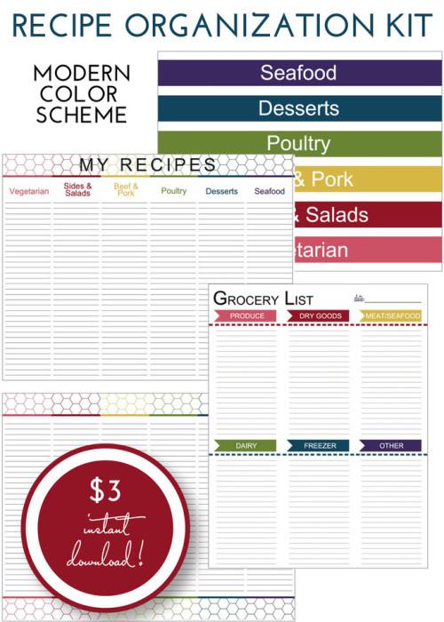 Recipe Organization Kit - Modern