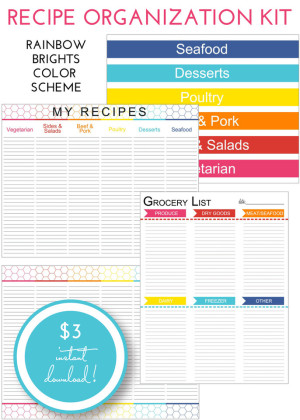 Recipe Organization Kit - Rainbow Brights
