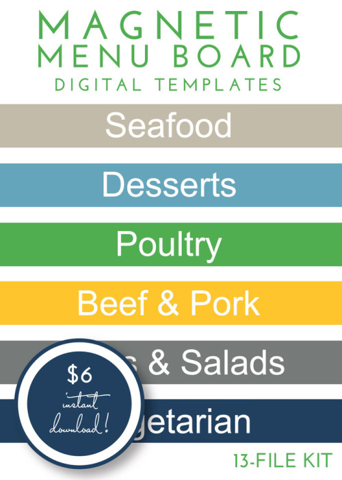 Magnetic Menu Board Kit - Preppy
