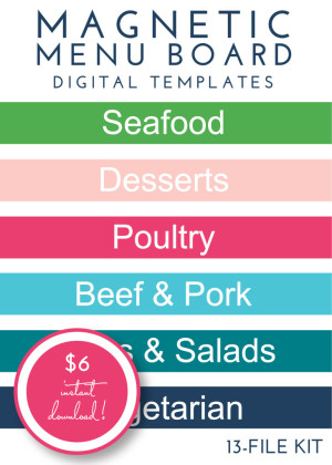 Magnetic Menu Board Kit - Pretty Preppy