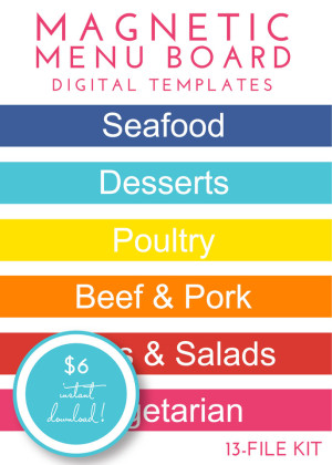 Magnetic Menu Board Kit - Rainbow Brights