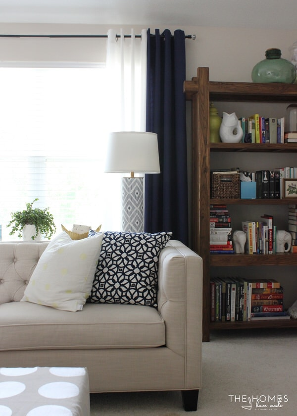 Navy and white curtains in living room