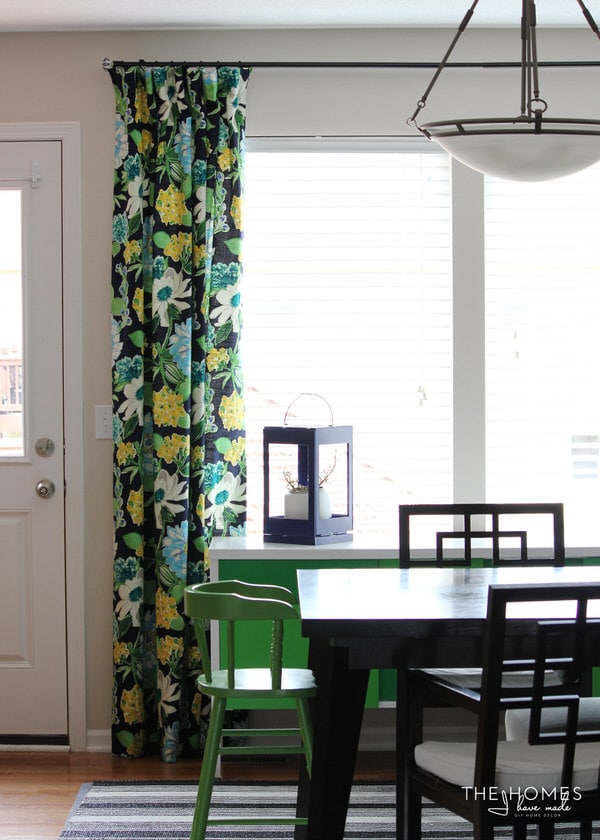Floral drapes in dining room