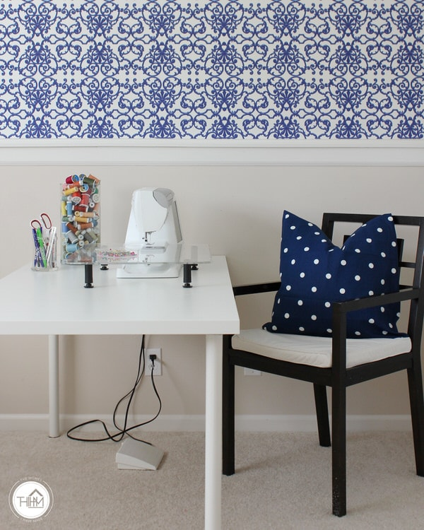Simple Sewing Station with Temporary Wallpaper