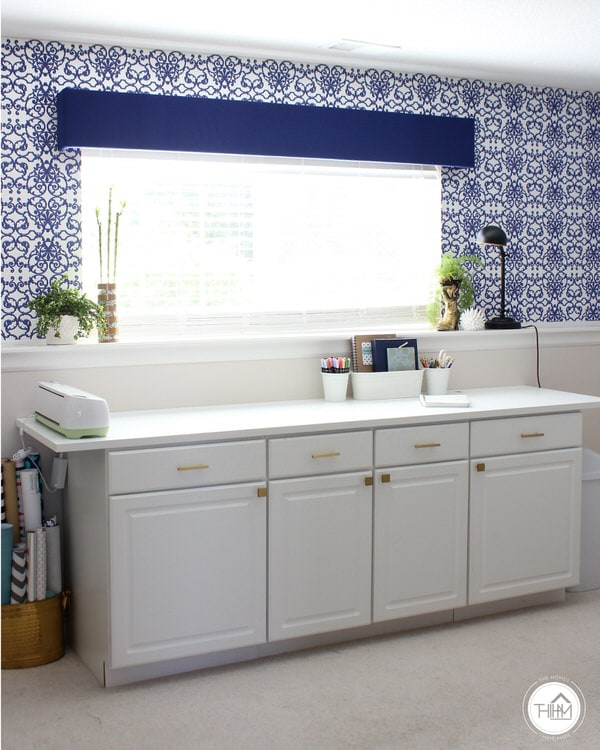 Renter Friendly Wallpaper Installation in Blue and White Office Space