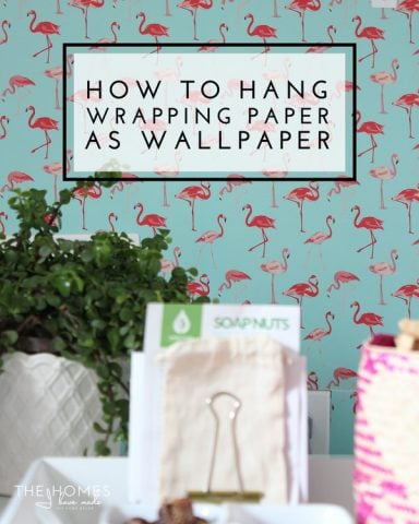 Tips and tricks for hanging wrapping paper as wallpaper. Great renter-friendly solution to blank walls!