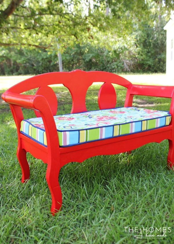 Red Garden Bench with Custom Cover