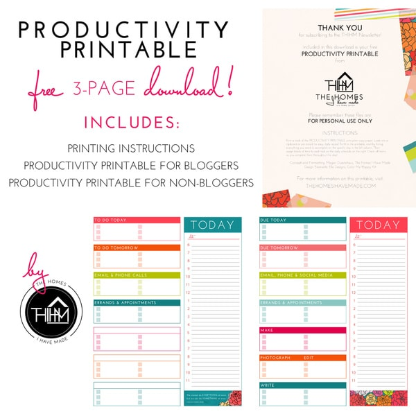 Free Productivity Printable Download