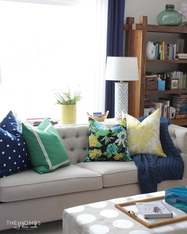 Blue, green and yellow pillows