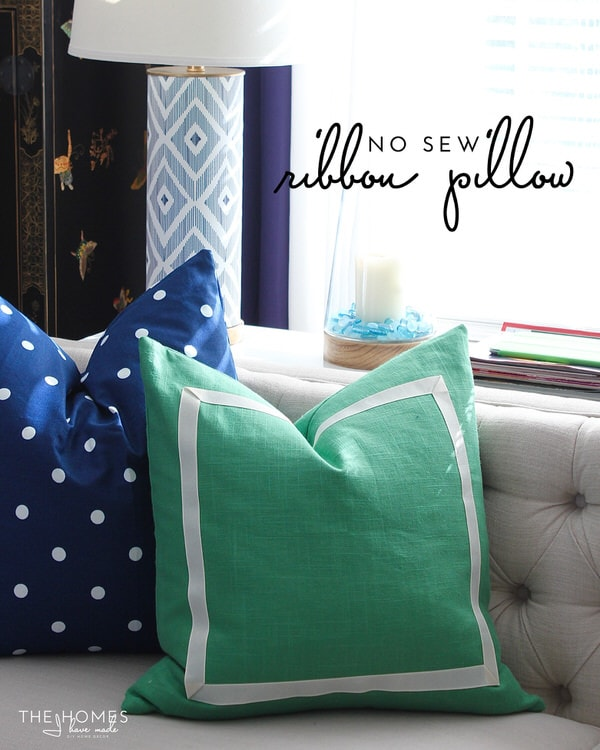 No-Sew Ribbon Pillow Tutorial