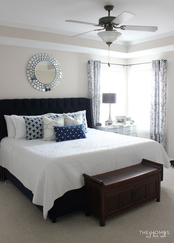 Navy, grey, white, and silver bedroom