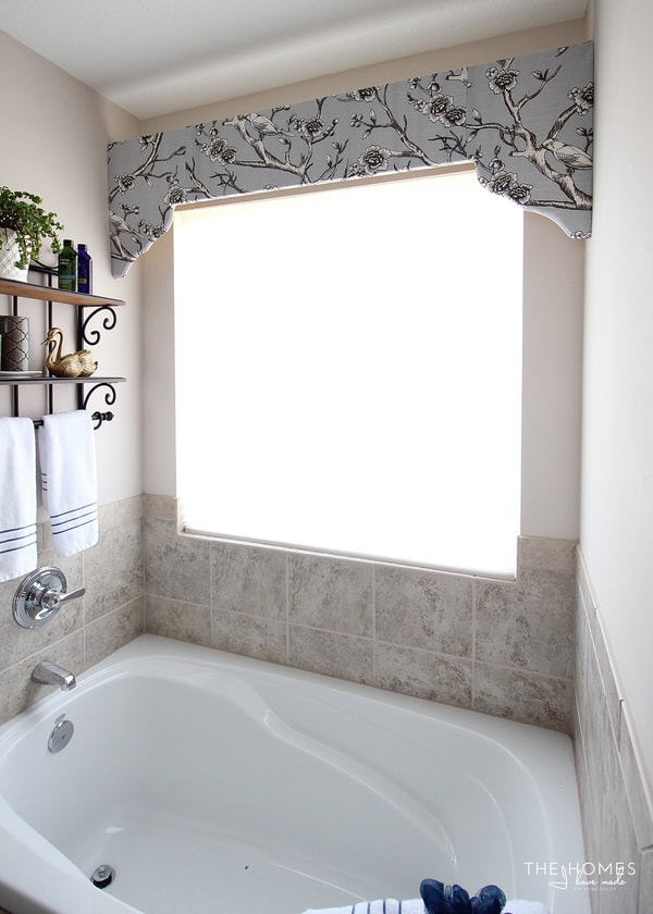 Simple and elegant cornice box in master bathroom.