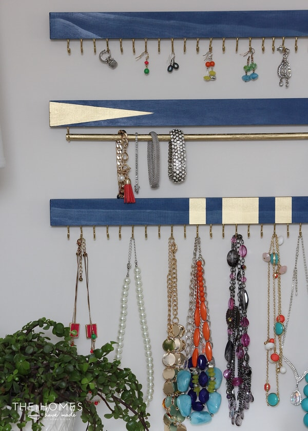 DIY Jewelry Organizers | Blue and Gold with Hooks