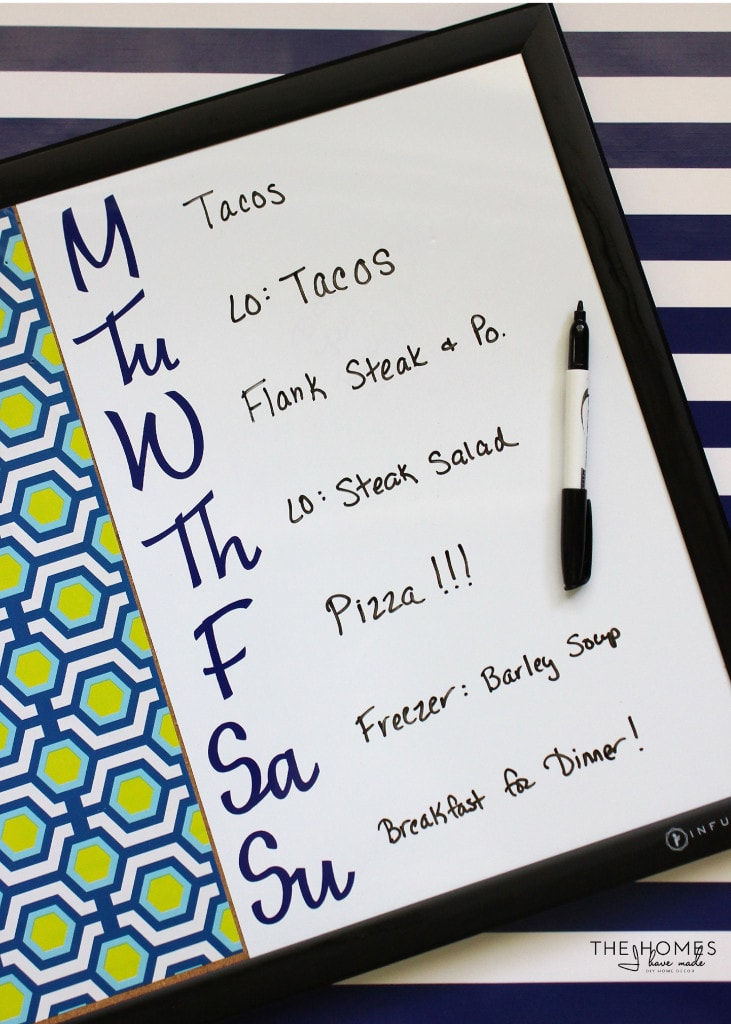 Simple Meal Planning Board