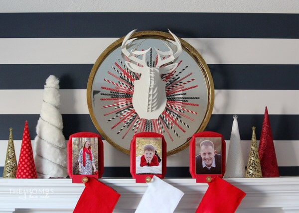 Black, White, Red and Gold Holiday Mantel