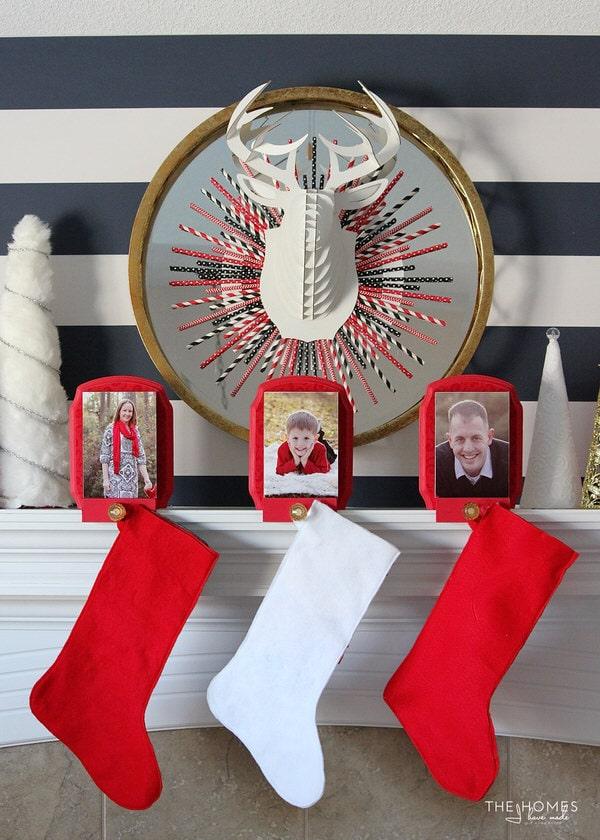 Black, White, Red & Gold Christmas Mantel