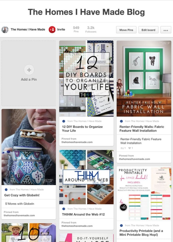 The Homes I Have Made Blog Pin Board