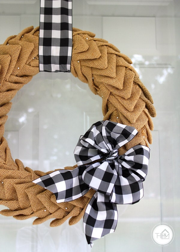 Fall Burlap Wreath with Black and White Gingham Bow