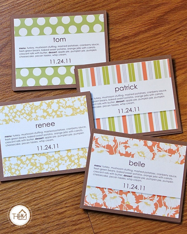 Thanksgiving table placecards (with menu!)