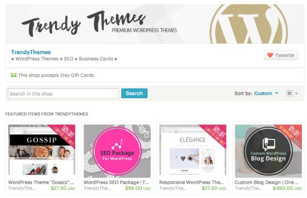 Trendy Themes Etsy Shop