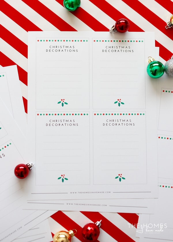 Holiday Decorations Labels Printable Kit