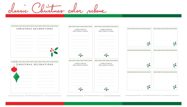 Holiday Decorations Labels Printable Kit - Classic Color Scheme