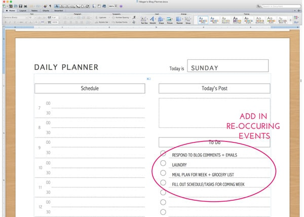 Editing a Printable Planner