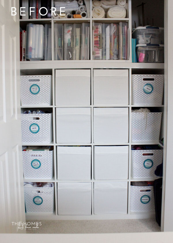 Kallax Shelves with White Bins