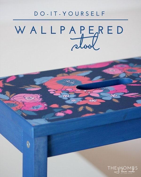 DIY Wallpapered Stool