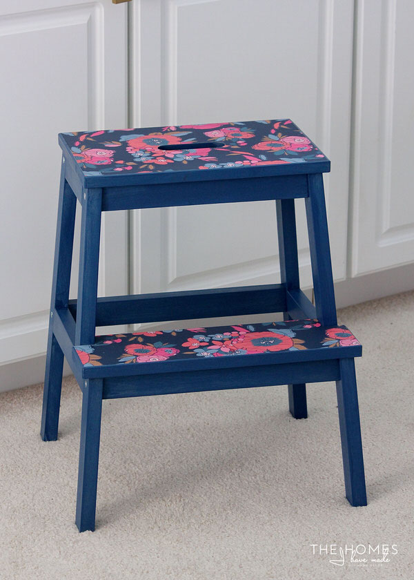 Flower Wallpapered Stool
