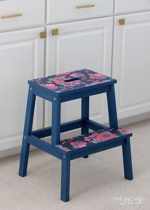 DIY Flower Wallpapered Stool