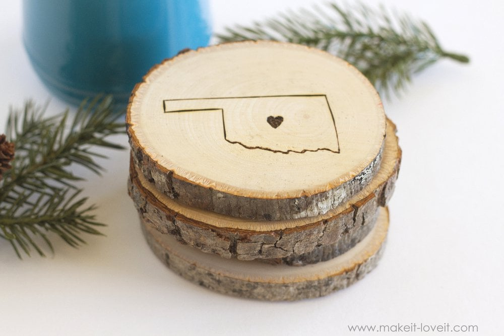 Engraved State Home Coasters via Make It and Love It