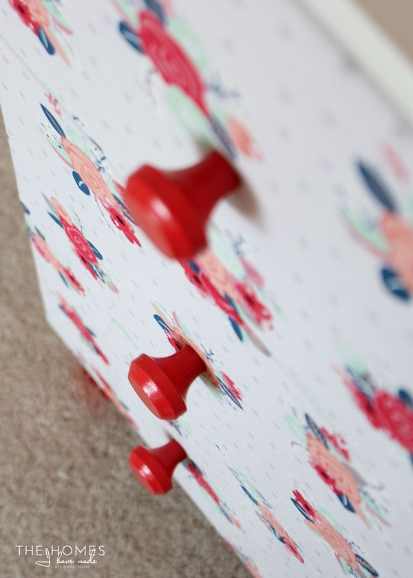 Red Floral Fabric-Covered Dresser