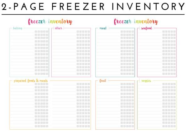 Freezer Inventory Printables