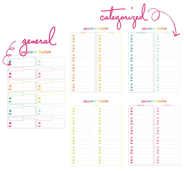 Printable Password Tracker (and some other digital organizing tips ...