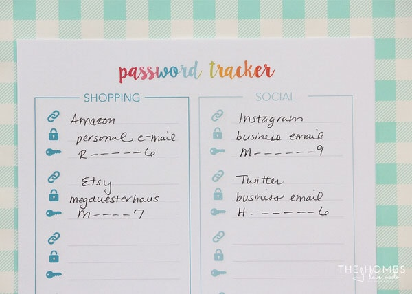 Free Printable Password Trackers