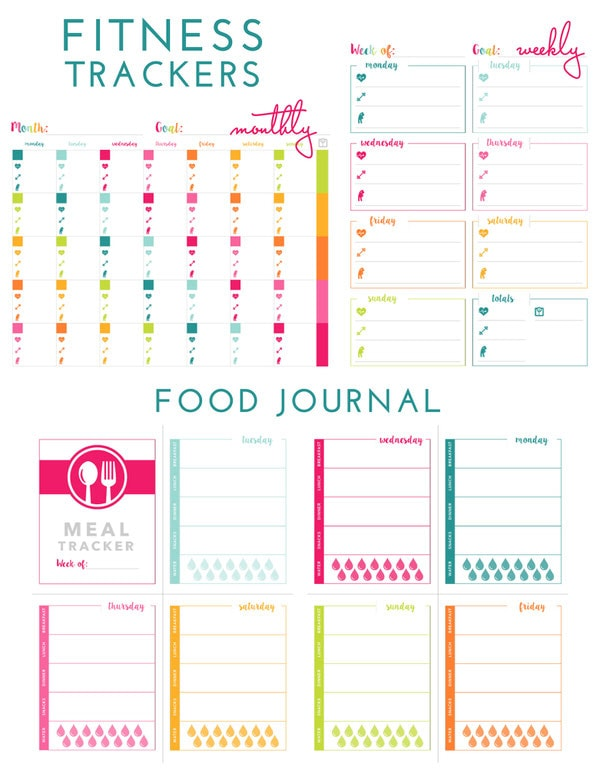 Printable Fitness Trackers and Food Journal | The Homes I