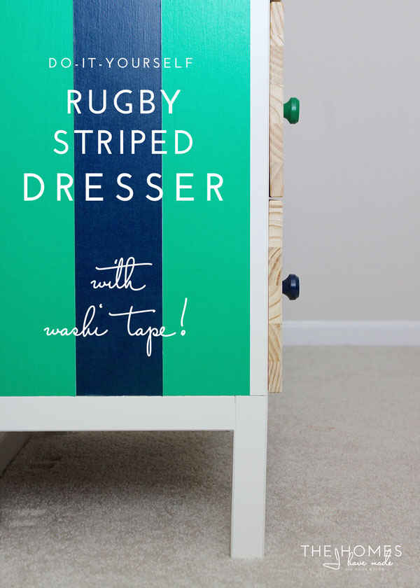 Rugby Striped Dresser With Washi Tape