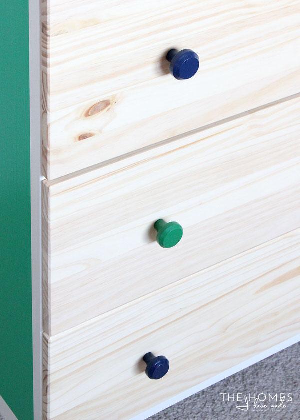 Colorful knobs on IKEA Tarva Hack
