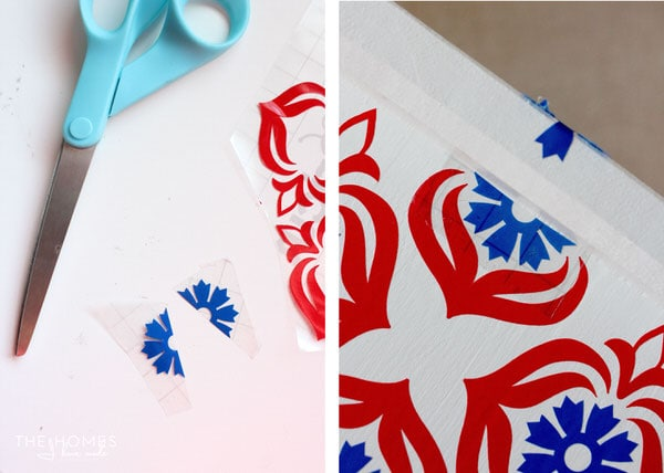 Place Vinyl Pattern Using Transfer Tape | 1 Dresser 4 Ways