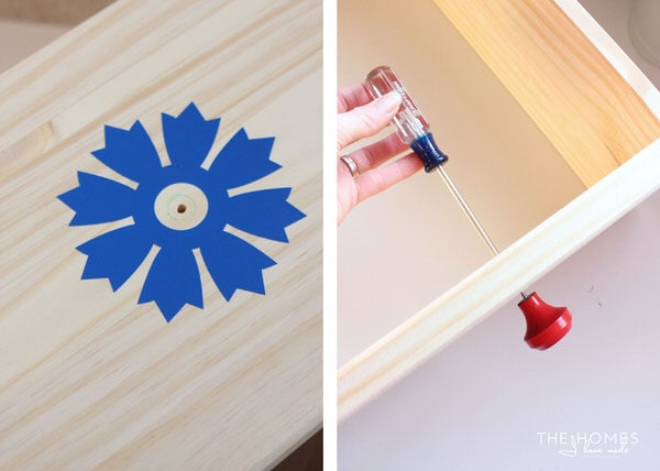 Add Vinyl and Knobs to Front of Drawer   1 Dresser 4 Ways