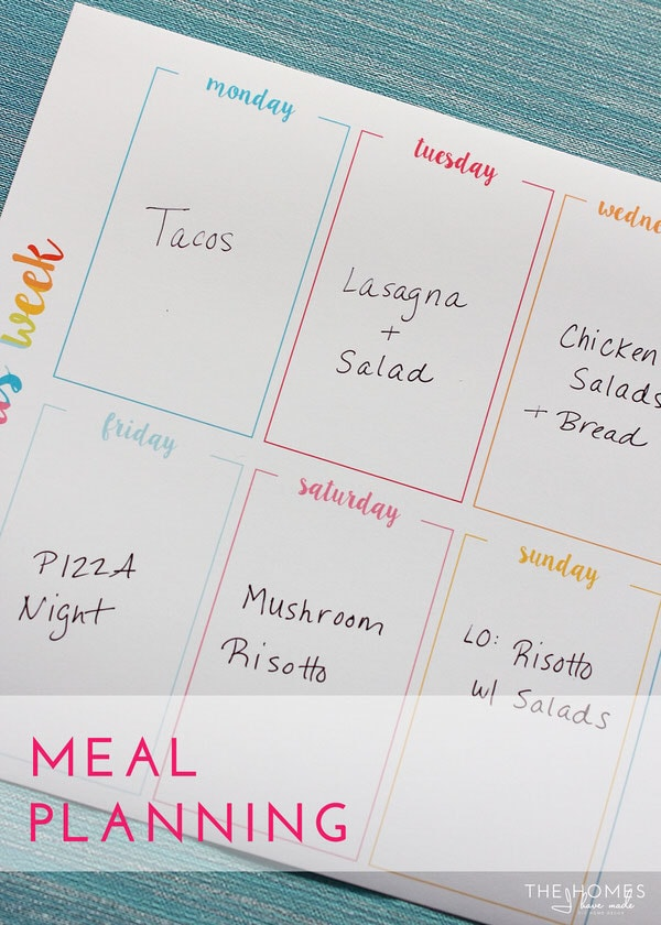 FREE Weekly Organizing Printables | Meal Planning