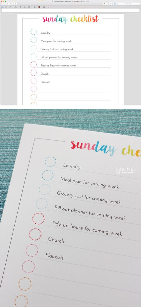 FREE Weekly Organizing Printables