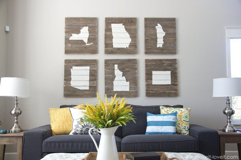 Home State Scrap Wood Art via Make It and Love It