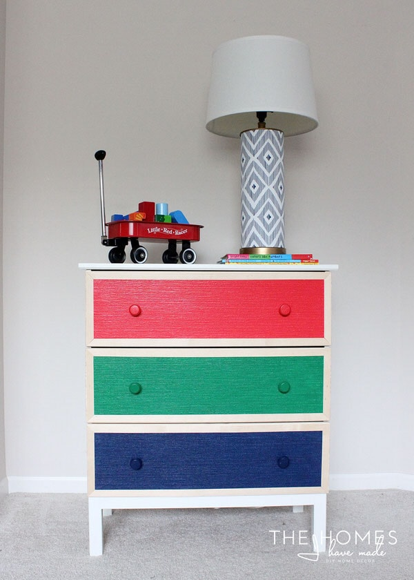 Wallpaper-Covered Dressers with Paintable Wallpaper Drawers