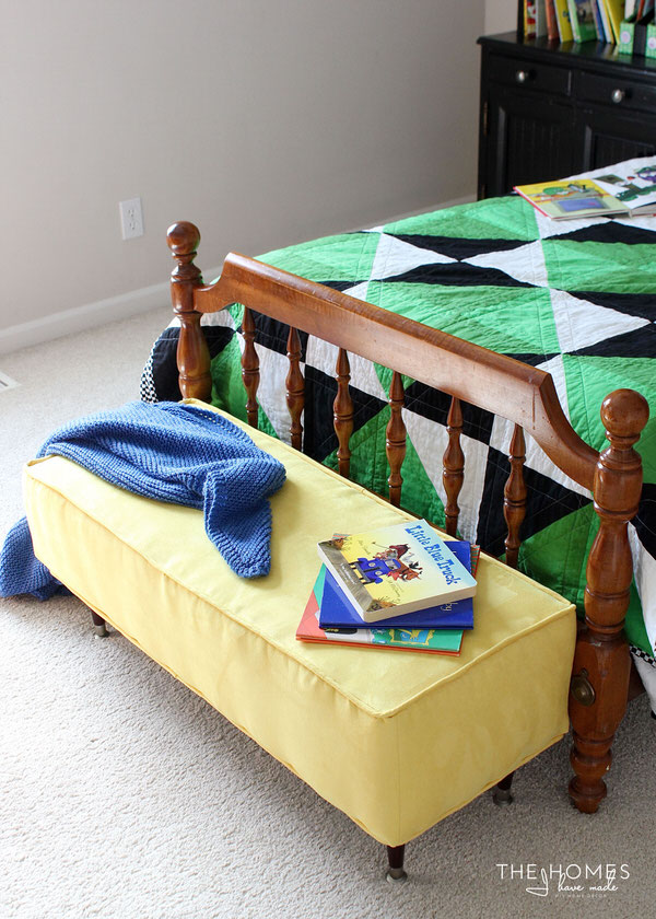 Make an upholstered bench in a mini size for kids to sit, cuddle and get dressed!
