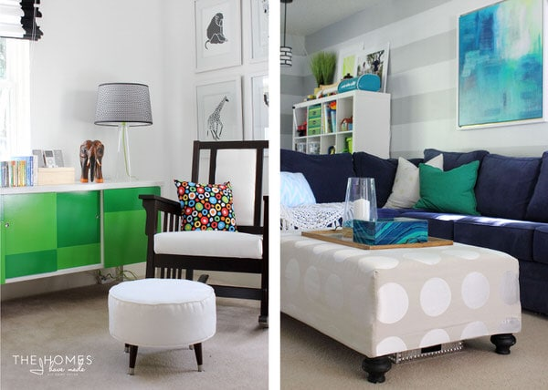 Upholstered Ottomans make great and cozy DIY home decor accessories!