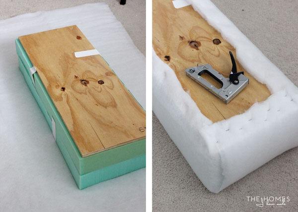DIY Mini Upholstered Bench | Wrap in Batting